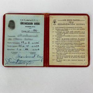 Carnet de Juventudes Falangistas 1939