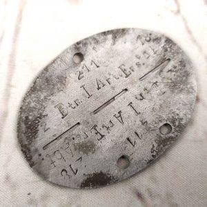 Chapa de identificación alemana 2ª Guerra Mundial