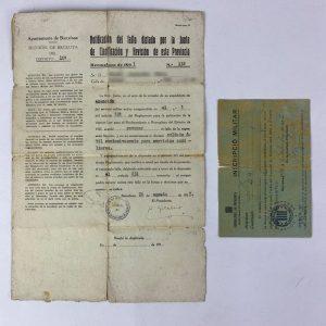 Documento Sección de Recluta Barcelona Guerra Civil